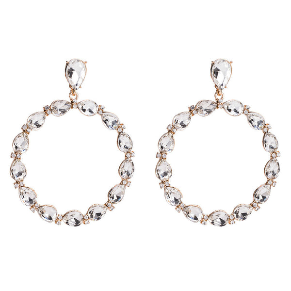 Lance Exaggerate Fashion Earring Boucles d'oreilles diamant simulé cercle
