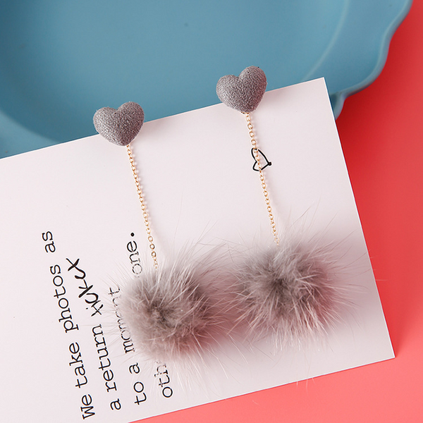 Lance Sweet and Fresh Mink Ball shaped Tassel Earrings with Heart