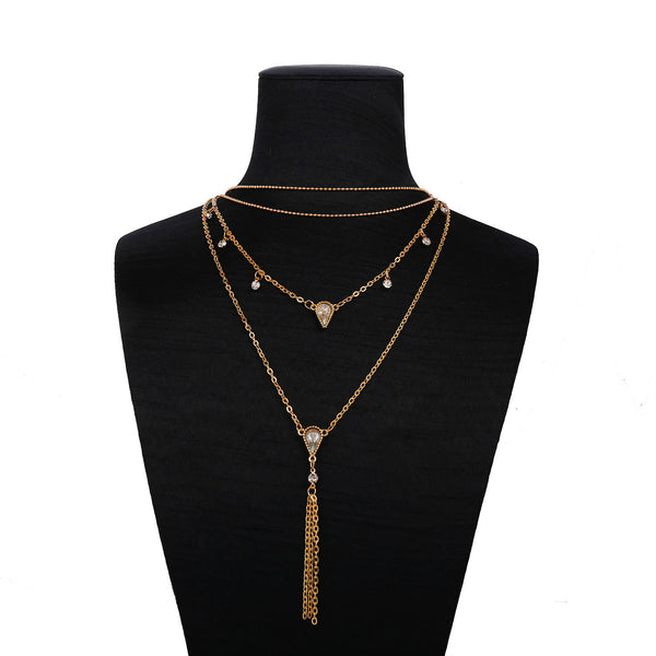 Lance crystal diamond sweater chain tassels necklace