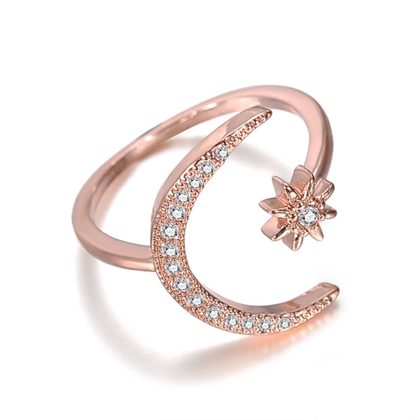 Lance Crystal Moon Star Open Adjustable Ring Delicate Fashion Grils Engagement Jewelry