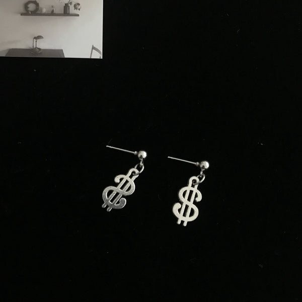 Lance Europe And The United States Personality Retro Simple Cool Alternative Dollar Sign Earrings Female