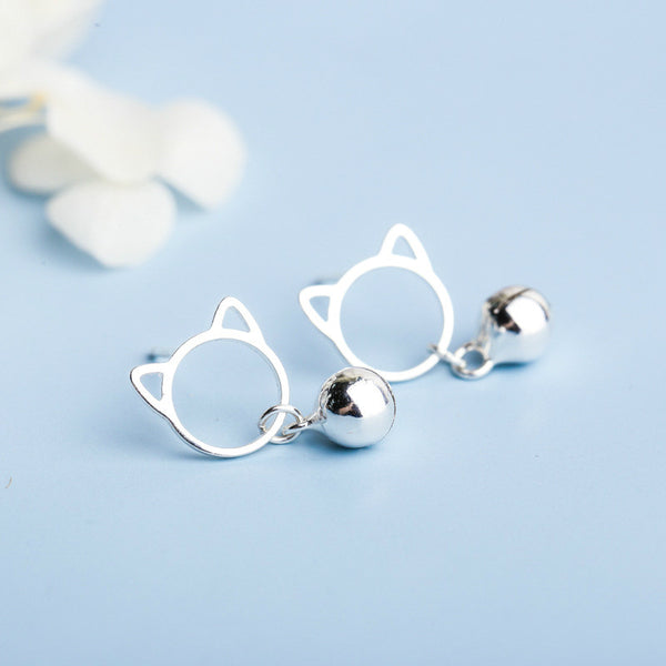 Lance Korean 925 Silver Cute Hollow Cat Bell Stud Earrings