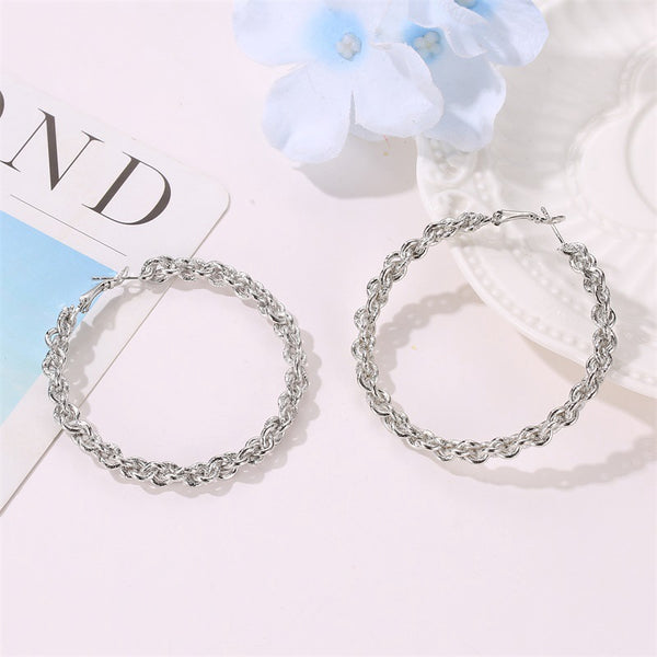 Lance Round Exaggerated Large Circle Twist Earrings Creative Woven Design Alloy Earrings Jewelry