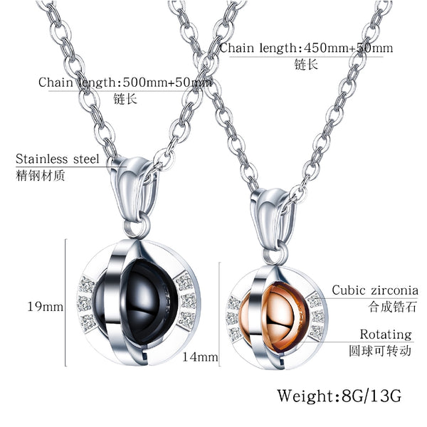Lance European And American Jewelry Stainless Steel Diamond Rotating Ball Pendant