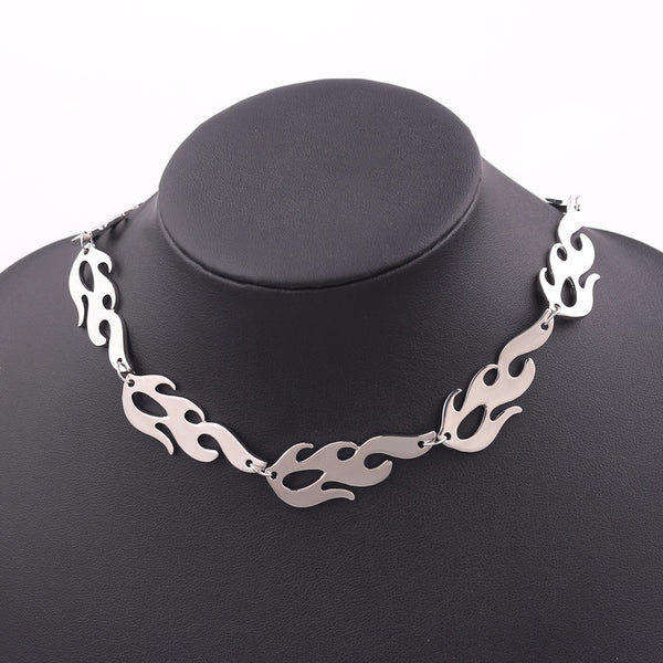 Lance Removable Water Wave Chain Silver Alloy Plating Flame Choker Necklace For Men