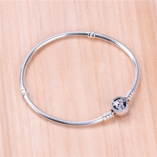 Lance S925  Silver Foundation Snake Bone Bracelet Flower Basic Bangle