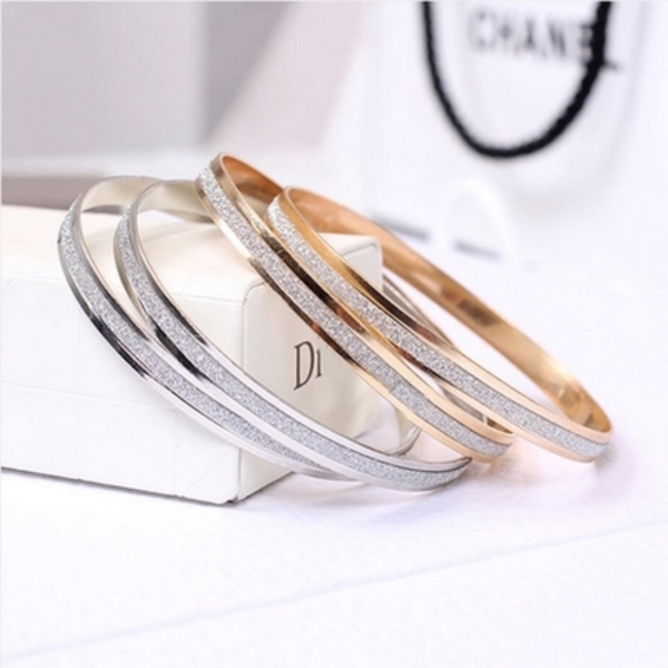 Lance Korean Fashion Double-ring Scrub Bangle Bracelet Jewelry