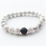 Lance Volcano White Stone Couple Beads Hot Selling Bracelet