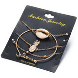 Lance Ananas Coquillage amour 4-pc set bracelet jonc