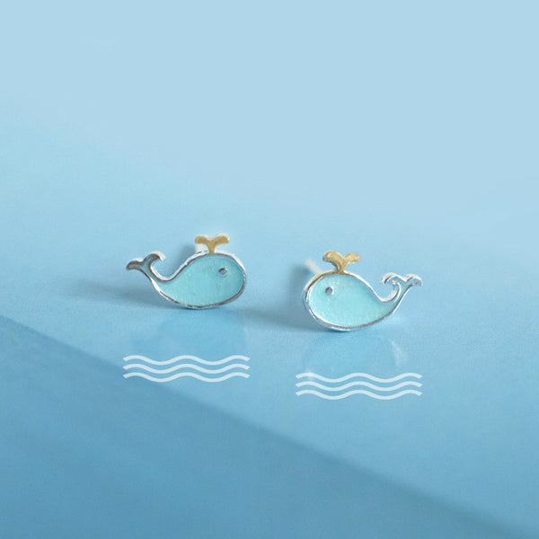 Lance S925 Silver Blue Drop Glaze Whale Stud Pendientes Cute Student Stud Earrings