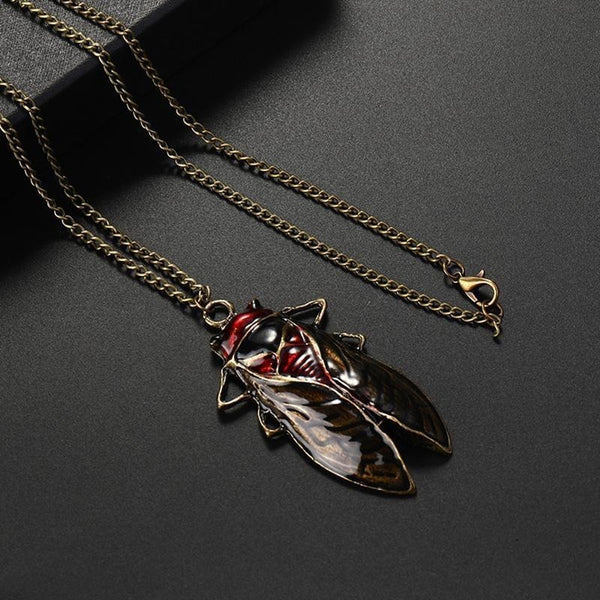Lance Women Vintage Cute Cicada Pendant Long Sweater Chain Necklace Jewelry