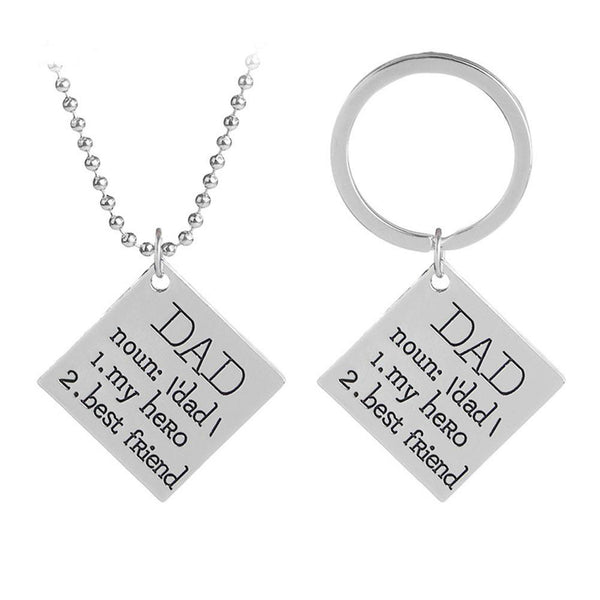 Lance Letters Metal Square Pendant Necklace Key Chain Jewelry Father's Day Gift