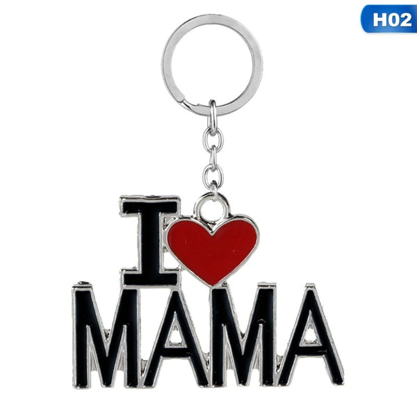 Lance Keychain I Love MAMA/MOM/DAD/PAPA Letter Key Chains Souvenir Jewelry Key Ring Mother Father 's Day Gift