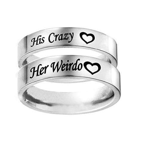 Lance His Crazy Her Weirdo Romantic Valentine's Day Titanium Steel Couple Ring