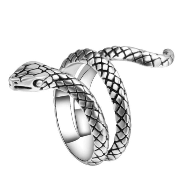 Lance Punk Personality Ring Silver-plated Alloy Animal Snake Shape Male Ring