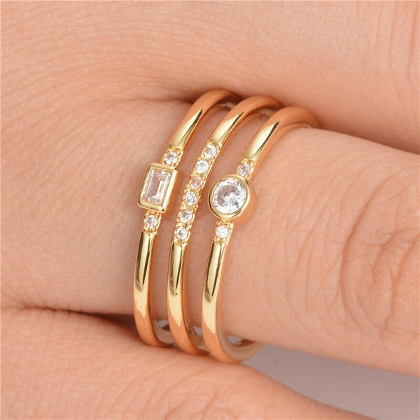 Lance Fashion Rings for Women Wedding Ring 18k Gold Plated White Sapphire Size 6-10