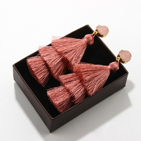Fashion multi-layer tassel earrings Exaggerated stud earrings