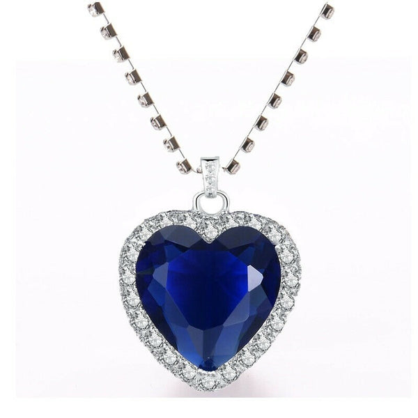 Lance Titanic Heart of The Ocean Blue Heart Love Crystal Pendant with Silver Necklace