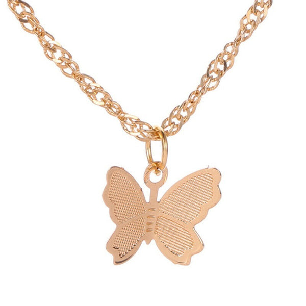 Lance Fashion Small Butterfly Pendant Gold Plated Necklace Lady Jewelry Party Gift HT