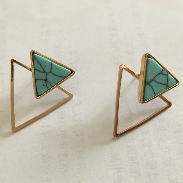 Lance Simple Geometric Earring Marble Pattern Turquoise Boucles d'oreilles
