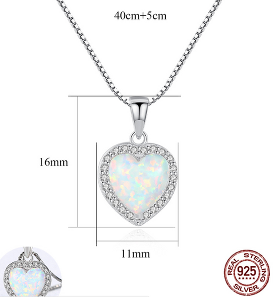 Lance Created Blue Opal & Cubic Zirconia Heart Necklace