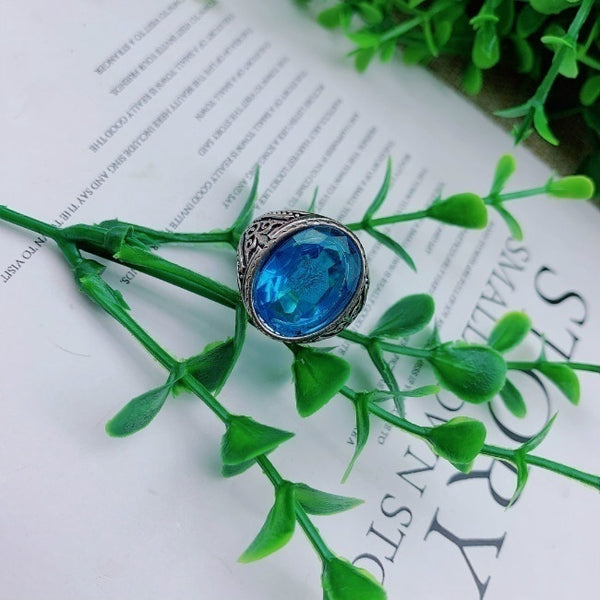 Lance Natural Gemstone Gifts Blue Stone Solid 925 Silver Men Ring Fathers Day Jewelry