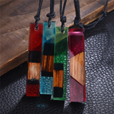 Lance Fresh and Simple Wood & Resin Stick Shaped Pendant Necklace Wholesale
