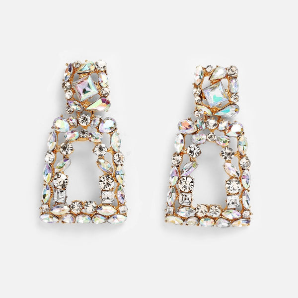 Lance European And American New Full Diamond Rectangular Earrings Creative Exaggerated Geometric Inlaid Zircon Ear Jewelry