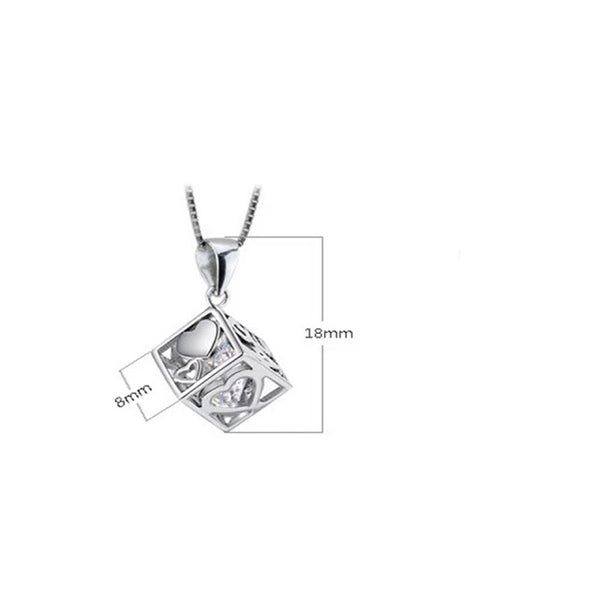 Lance L O V E Heart Shaped Window Rubik's Cube Pendant Three Sides Necklace For Women Wedding Jewelry