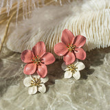 Lance Pink White Flower Petal Ear Studs Pendant Fashion Girls Women Floral Earrings