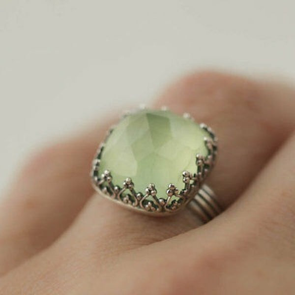 Lance Princess Green Moonstone Gemstome 925 Silver Ring Wedding Engagement Size 6-10