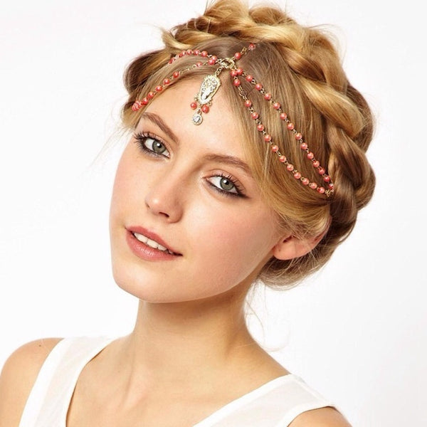 Lance Europe And America Bohemian Diamond Pearl Tassel Headband Hair Band