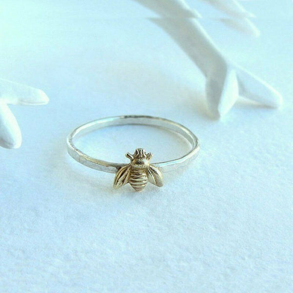 Lance Simple Tiny Gold Bee Finger Rings Band Stacking Ring Wedding Anniversary Jewelry