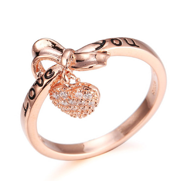 Lance Jewelry Europe And America Plated 925 Silver Women Love Heart-Shaped Love You Bow Diamond Ring