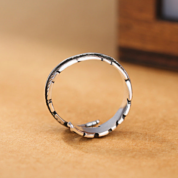 Lance Retro Feder Ring Sterling Silber Ring
