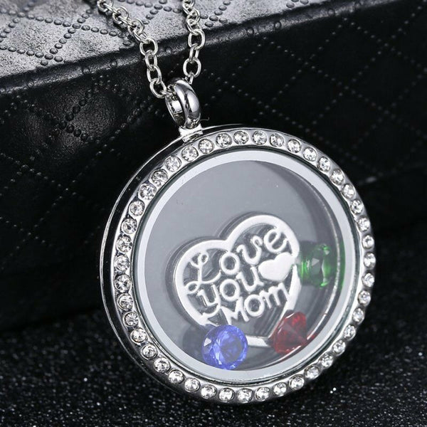 Lance Fashion Crystal Floating Charms Living Memory Locket Mom Mother Necklace Gift