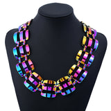 Lance Europe and the United States exaggerates the retro dazzling color necklace popular texture geometric necklace