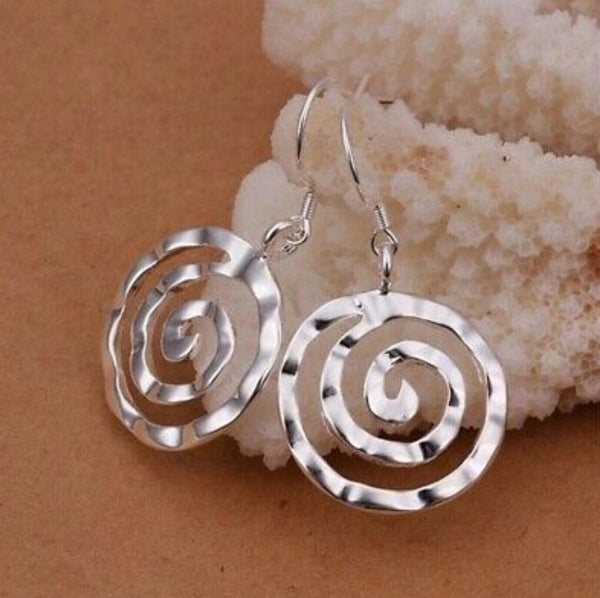 Lance 925 Sterling Silver Circle Swirl Round Spiral Dangle Drop Hook Earrings