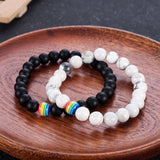 Lance Retro Matte Frosted Colorful Charm Bead Bracelet Rainbow Couple Gift Wristband