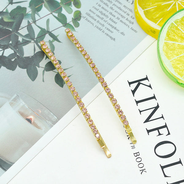 Lance Korean Full Crystal Hair Clip Long Thin Hairpin Fashion Jewelry Women Girl