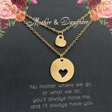 Lance Mother Daughter Necklace Heart Chain Pendant Necklace Mom Necklace Jewelry Mother's Day Gift