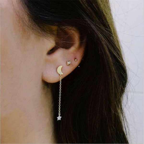 Lance Fashion 3Pcs/Set Gold Bohemian Earrings Ear Clip Crystal Moon Star Stud Jewelry