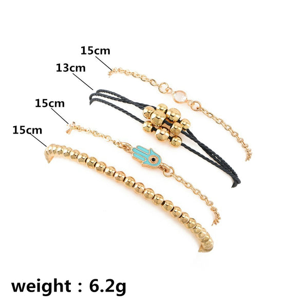 Lance Women Crystal Evil Eye Adjustable Open Bangle Chain Bracelet Jewelry
