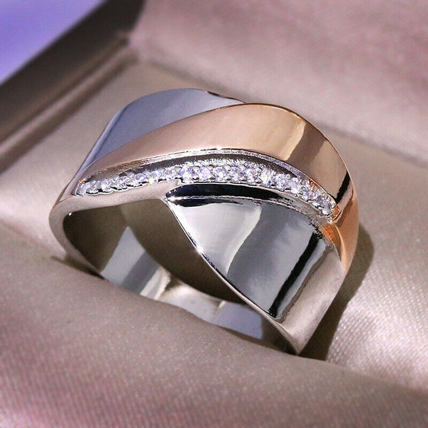 Lance Creative Two Tone 925 Silver Rings Women White Sapphire Wedding Ring Size 6-10