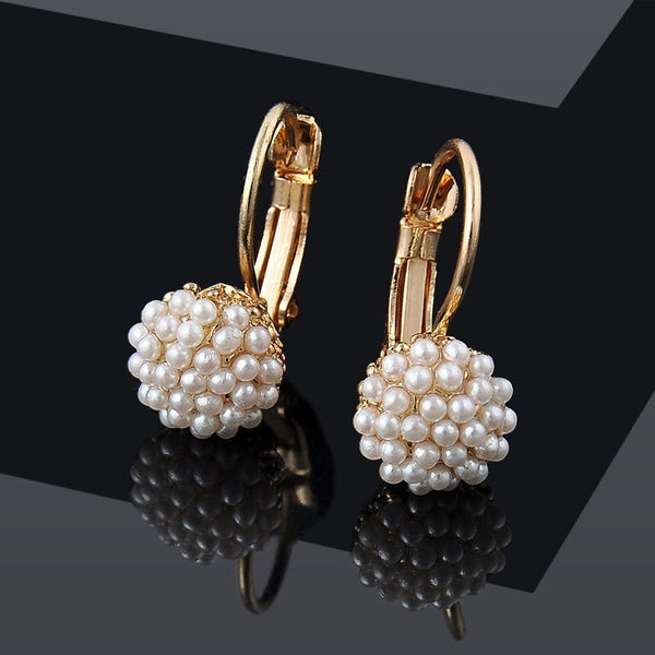 Lance Stylish Women Lady Elegant Pearl Beads Ear Stud Hoop Dangle Earrings Jewelry