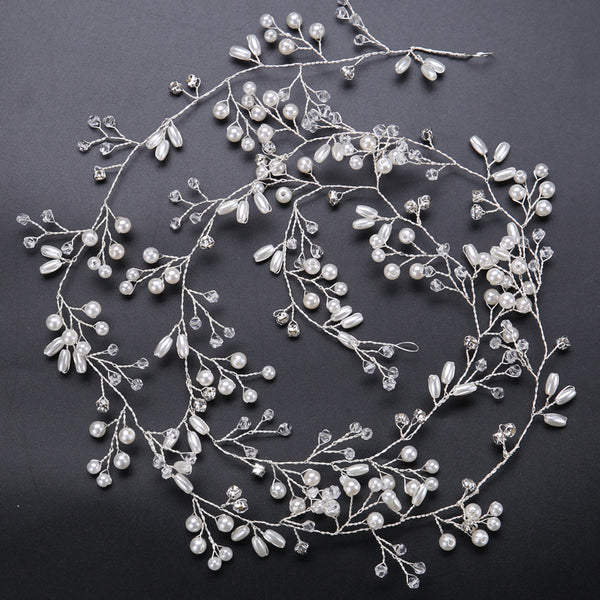 Lance 100mm Long  Handmade Crystal Pearl Headband