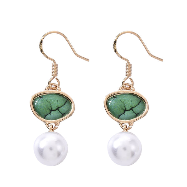 Lance Fashion Drop Earrings Women 18k Yellow Gold Plated Pearl Jewelry A Pair/set