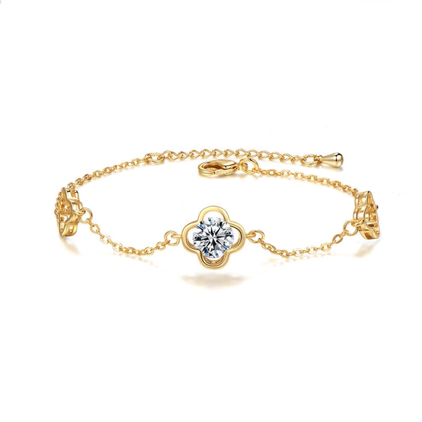 Lance New Fashion Crystal Bracelet Female Lucky Girl Clover Bracelet Trend Jewelry