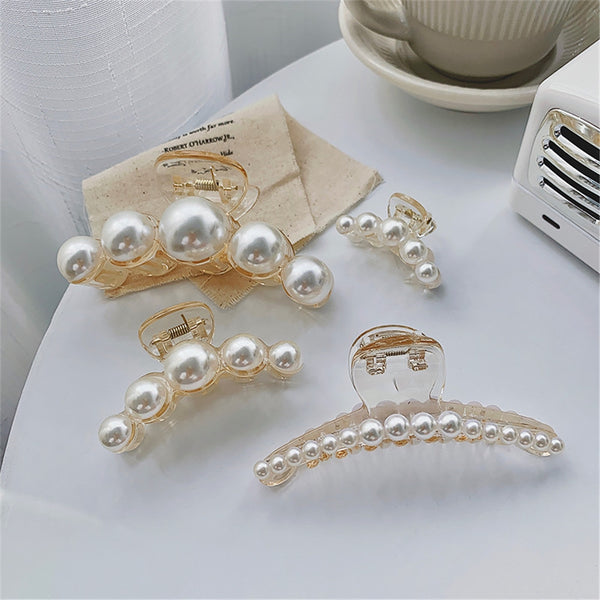 Lance Women Pearl Hairpin Side Clip Girl's Head Size Hair Catching Catching Clip Hair Accessory Headdress