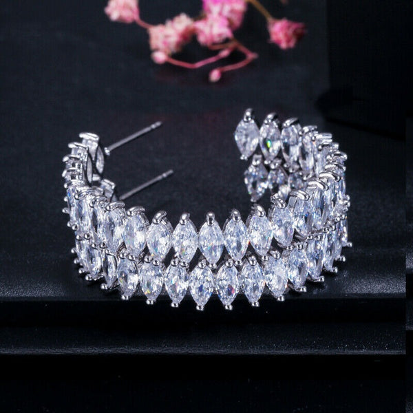 Lance Zircon White Gold Marquise Cut Cubic Zirconia Big Round Circle Hoop Earrings